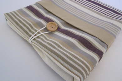 iPad Case - Beige-Purple Stripe