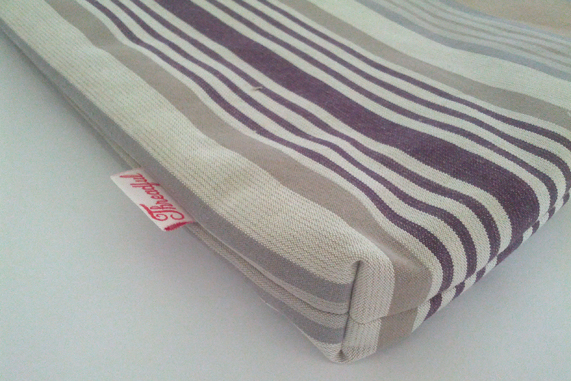"13"" MacBook Case - Beige & Purple Stripes"